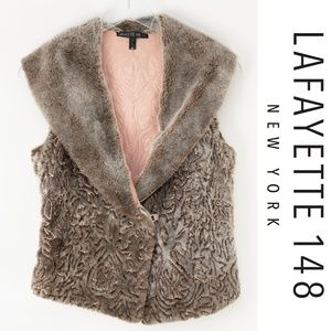 Lafayette 148 Sheepskin Fur Embroidered Vest Small